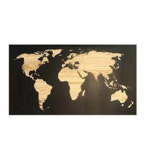 Carte du monde métal bois