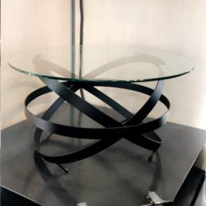 Table basse métal verre